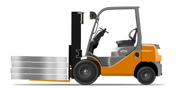 wózek widłowy - bezpieczny załadunek na waterjeta dzięki oddzielonemu korpusowi
